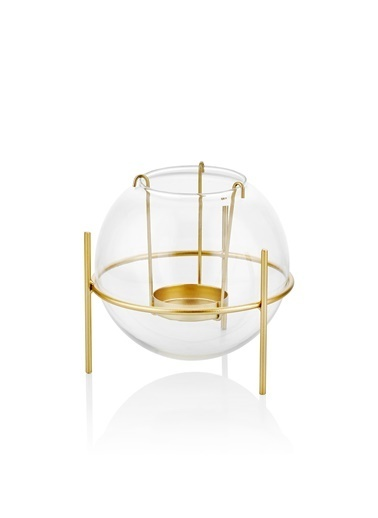 The Mia Tealight Mumluk Cam -Gold- 13*13 Cm Altın